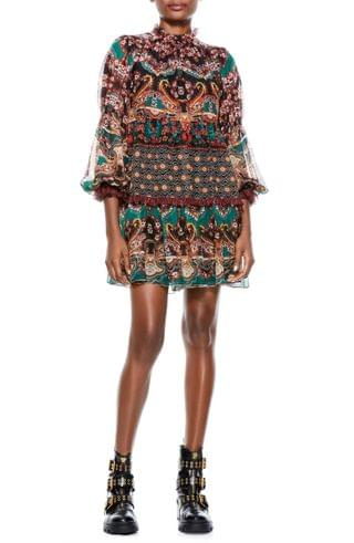 WOMEN Alice + Olivia Marella Print Long Sleeve Minidress