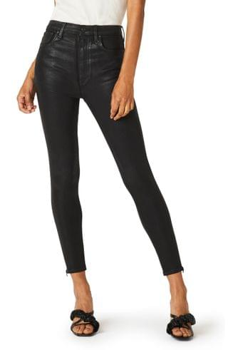 WOMEN Hudson Jeans Centerfold Coated Super High Waist Ankle Skinny Jeans (High Shine Black)