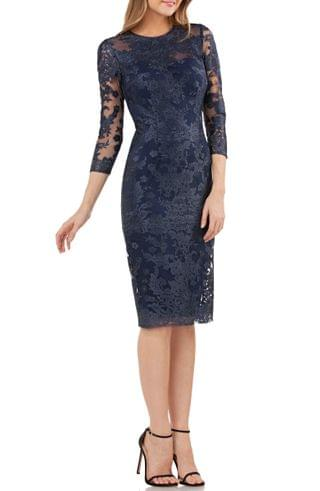 WOMEN JS Collections Embroidered Lace Sheath Dress