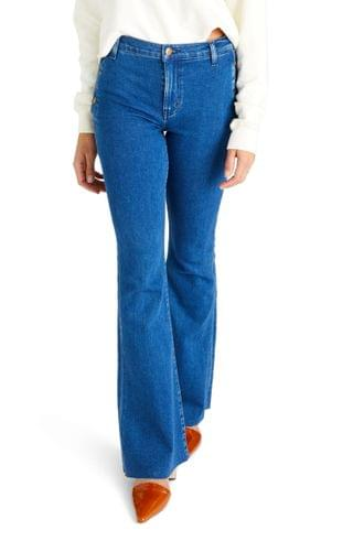 WOMEN  TICA Nina High Waist Button Detail Flare Jeans (Green Indigo)