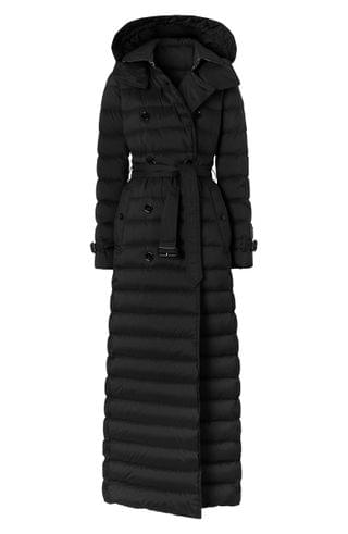 WOMEN Burberry Arniston Double Breasted Quilted Down Long Puffer Coat