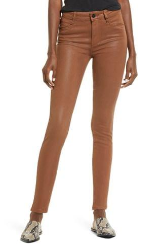 WOMEN PAIGE Hoxton High Waist Ankle Skinny Jeans (Cognac Luxe Coating)
