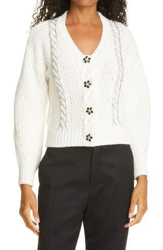 WOMEN Self-Portrait Ivory Cable Knit Sweater
