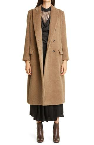 WOMEN Brunello Cucinelli Double Breasted Alpaca & Wool Coat