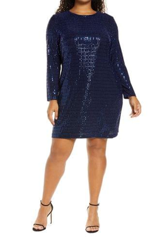 WOMEN Morgan & Co. Sequin Long Sleeve Cocktail Dress (Plus Size)