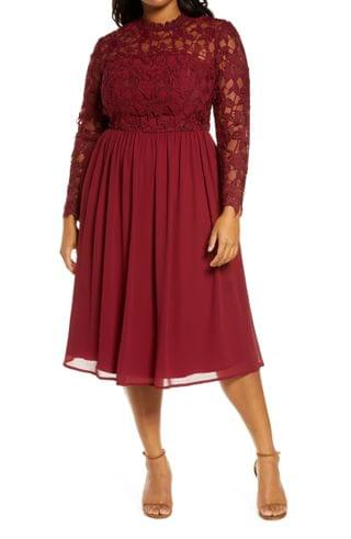 WOMEN Chi Chi London Curve Ella-Louise Lace & Chiffon Long Sleeve Dress (Plus Size)