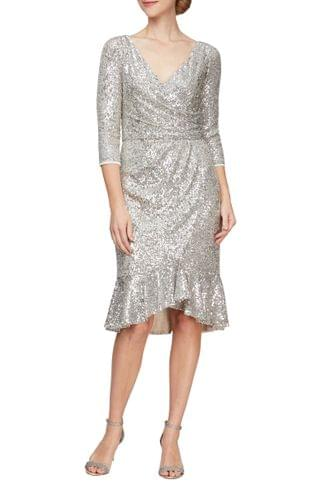 WOMEN Alex Evenings Sequin Surplice Cocktail Dress