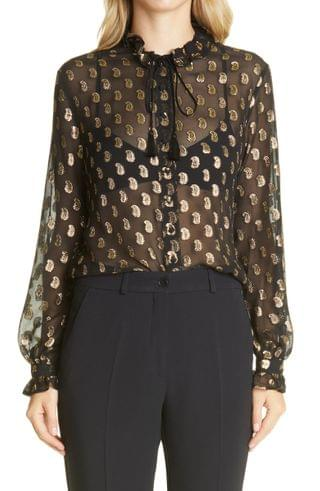 WOMEN Etro Metallic Paisley Sheer Silk Blouse