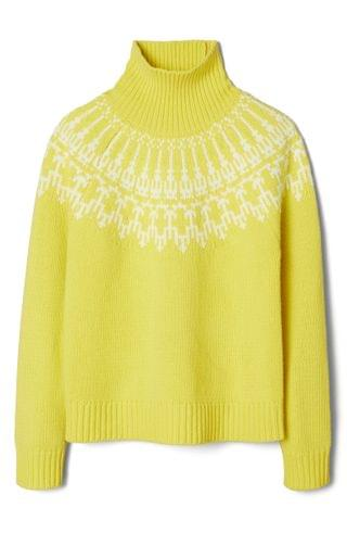 WOMEN Tory Sport by Tory Burch Fair Isle Merino Wool Turtleneck Sweater