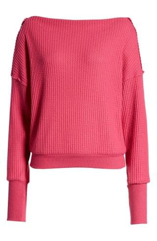 WOMEN Treasure & Bond Off the Shoulder Thermal Knit Sweater