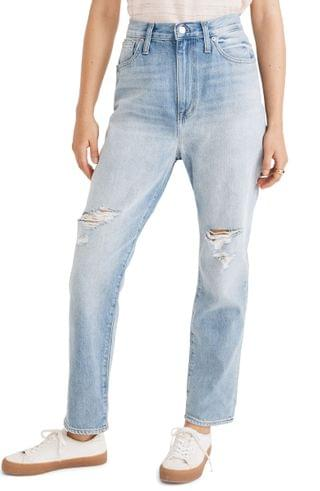 WOMEN Madewell Ripped Edition Mom Jeans (Gilford Wash)