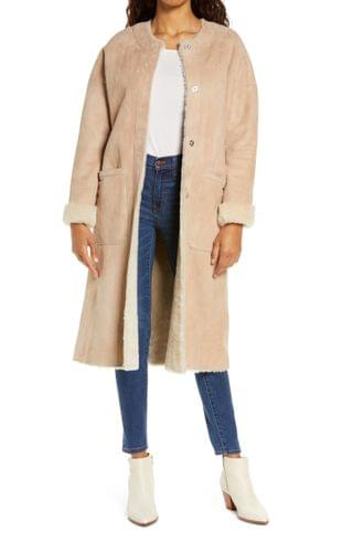 WOMEN UGG Remy Reversible Genuine Shearling Coat