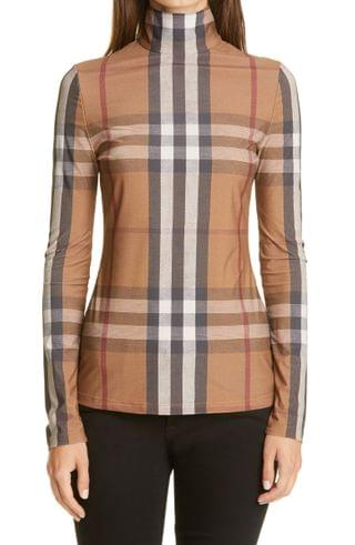 WOMEN Burberry Check Stretch Jersey Top