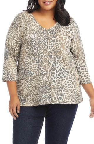 WOMEN Karen Kane Three Quarter Sleeve Swing Top (Plus Size)