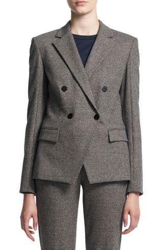 WOMEN Theory Abbot Puppytooth Check Cashmere Double Breasted Jacket