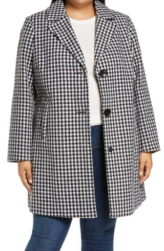WOMEN Sam Edelman Single Breasted Houndstooth Coat (Plus Size)