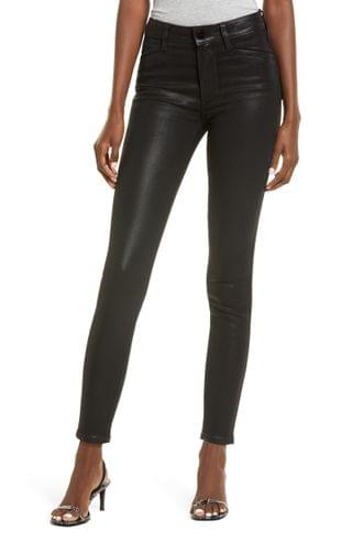 WOMEN PAIGE Hoxton High Waist Ankle Skinny Jeans (Black Fog Luxe Coating)