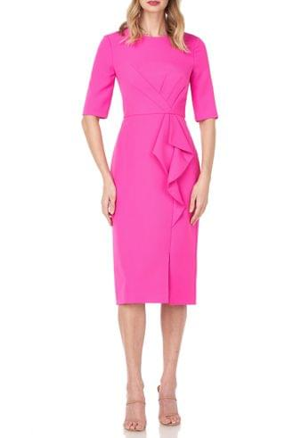 WOMEN Kay Unger Ruffle Detail Sheath Cocktail Dress