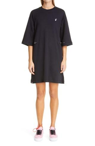 WOMEN Off-White Flocked Floral Arrows Coulisse T-Shirt Dress