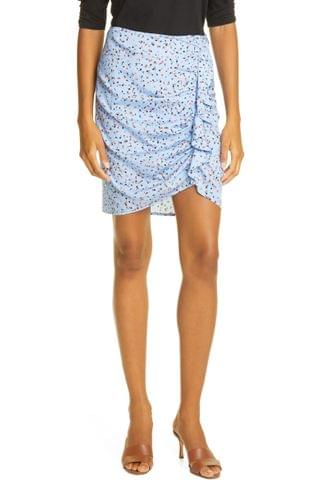 WOMEN Veronica Beard Spencer Ruched Stretch Silk Miniskirt