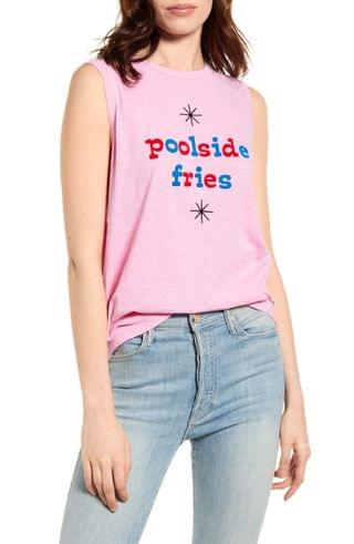 WOMEN ban.do Poolside Fries Graphic Muscle Tee