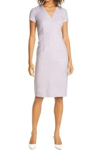WOMEN BOSS Danati Wool Sheath Dress (Regular & Petite)