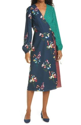 WOMEN Ted Baker London Talissa Mix Print Long Sleeve Faux Wrap Dress
