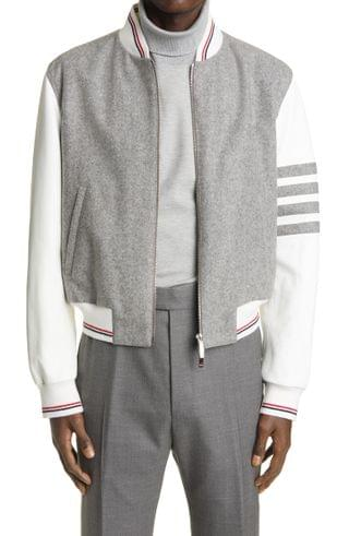 MEN Thom Browne 4-Bar Wool & Leather Bomber Jacket