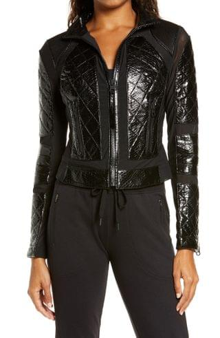 WOMEN Blanc Noir Quilted Snake Embossed Faux Patent Leather & Mesh Moto Jacket