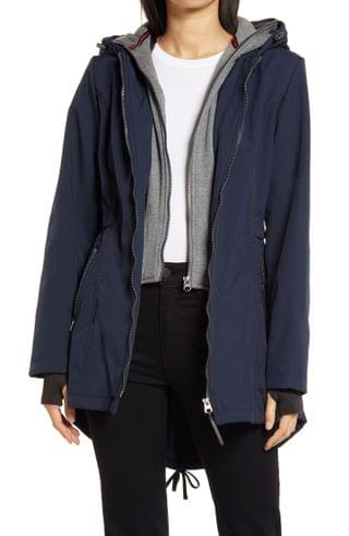 WOMEN French Connection Hooded Jersey Bib Raincoat