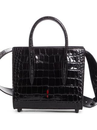 WOMEN Christian Louboutin Mini Paloma Croc Embossed Leather Satchel