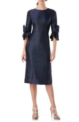 WOMEN Kay Unger Lola Bow Sleeve Satin Twill Cocktail Dress