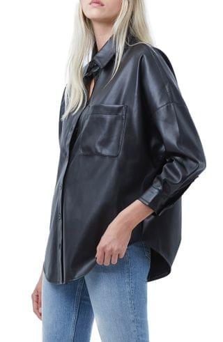 WOMEN French Connection Rhodes Faux Leather Shirt
