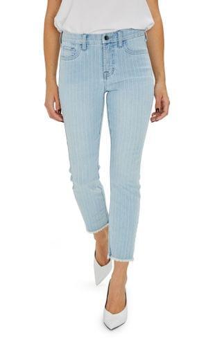 WOMEN JEN7 by 7 For All Mankind Frayed Ankle Straight Leg Jeans (Pinstripe)