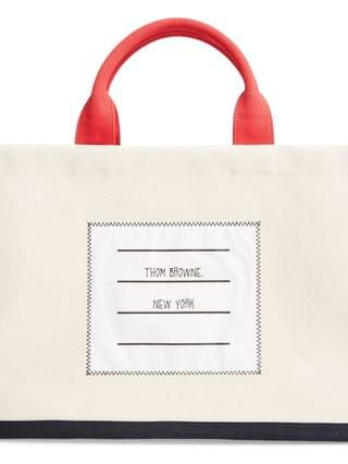 WOMEN Thom Browne Name Tag Canvas Top Handle Tote