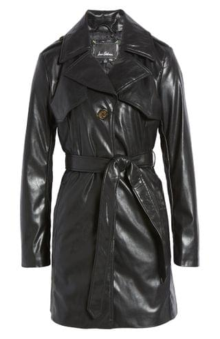WOMEN Sam Edelman Faux Leather Belted Trench Coat