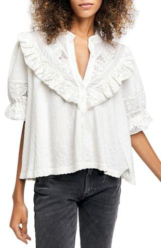 WOMEN Free People Walk in the Park Button-Up Top
