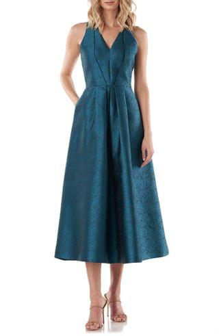 WOMEN Kay Unger Textured Jacquard V-Neck Cocktail Dress