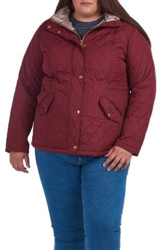 WOMEN Barbour Millfire Diamond Hooded Quilted Jacket (Plus Size)