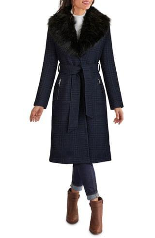 WOMEN Kenneth Cole New York Plaid Belted Coat with Removable Faux Fur Collar