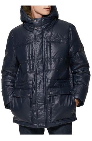 MEN Andrew Marc Kincaid Quilted Down Coat with Faux Fur Trim