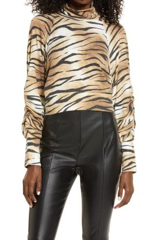 WOMEN Leith Tiger Print Mock Neck Long Sleeve Top