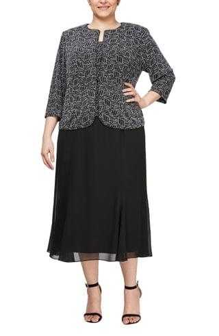 WOMEN Alex Evenings Mock Two-Piece Cocktail Dress with Jacket (Plus Size)
