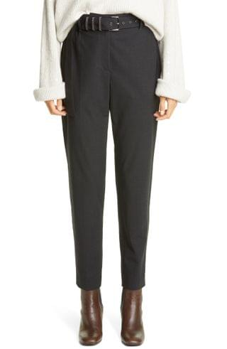 WOMEN Brunello Cucinelli Belted Tapered Wool Blend Trousers