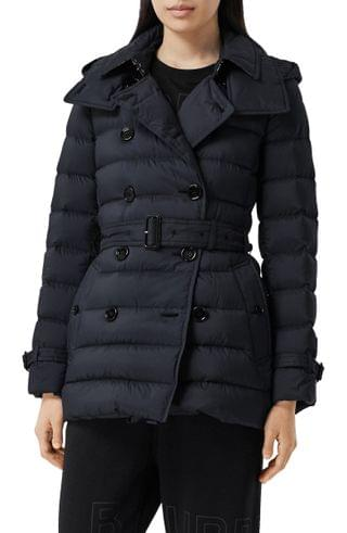 WOMEN Burberry Arniston Double Breasted Down Puffer Coat