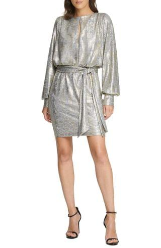 WOMEN Vince Camuto Metallic Long Sleeve Cocktail Dress