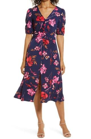 WOMEN Vince Camuto Floral Ruched Front A-Line Midi Dress