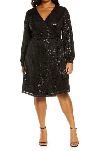WOMEN Chi Chi London Curve Dayna Sequin Long Sleeve Wrap Minidress (Plus Size)
