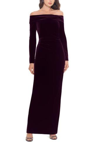 WOMEN Xscape Off the Shoulder Long Sleeve Gown