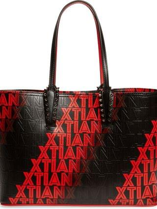 WOMEN Christian Louboutin Small Cabata Xtian Embossed Leather Tote